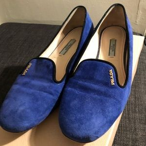 Prada Smoking Slippers Blue Suede size 7.5